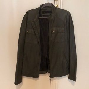 Zara Green Faux Leather Jacket - Large (40-42)